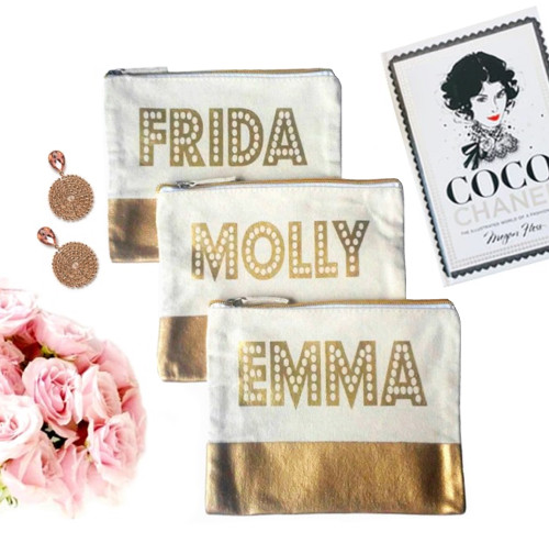Gold Dipped Personalized Canvas Bag - Dots