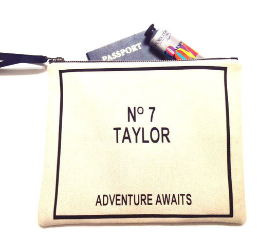 No. 7 Adventure Awaits Personalized Canvas Bag