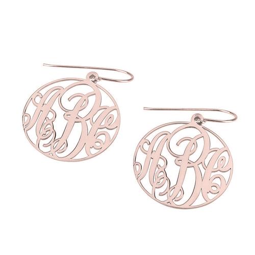 Rose Gold Script Monogram Earrings with Border