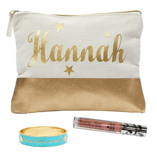 Gold Dipped Personalized Canvas Bag | Stars