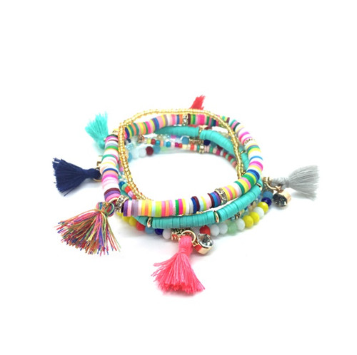 Nina Layered Beaded Tassel Bracelet - Multicolored