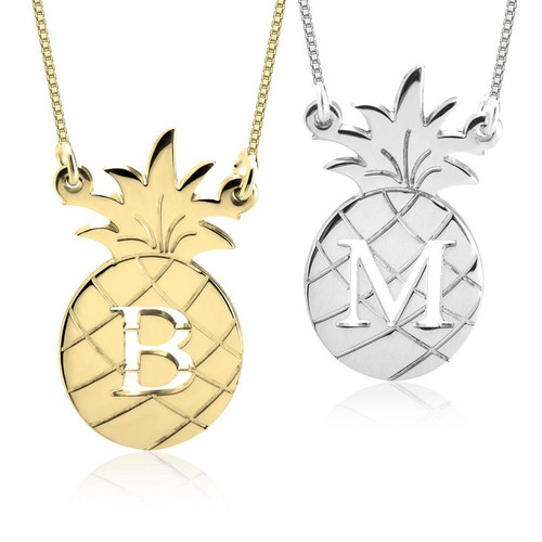 Personalized Initial Pineapple Necklace - 24K Gold Plated, Sterling Silver