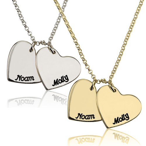 Two Hearts Personalized Name Necklace - silver & gold