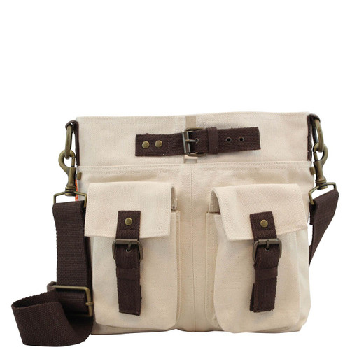 Sloane Natural Canvas Crossbody Satchel Bag