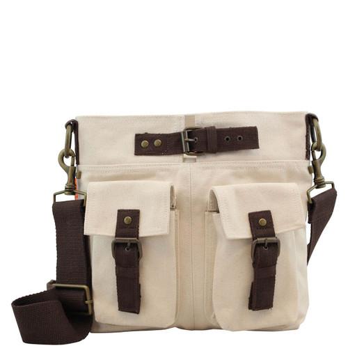 Sloane Natural Canvas Crossbody Satchel Bag