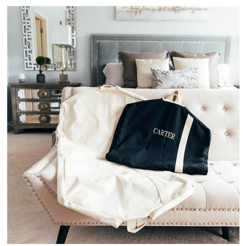 Personalized Canvas Garment Bag - Natural and Black