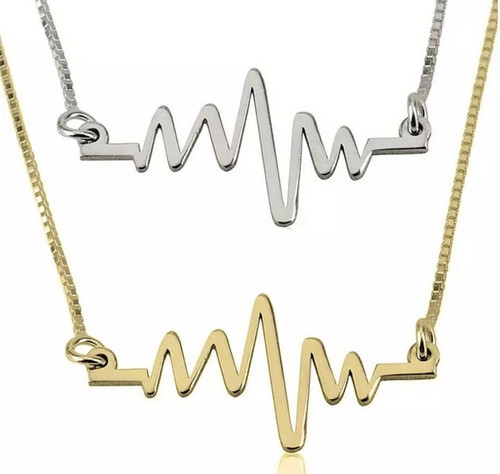 EKG Heartbeat Necklace -sterling silver, 24K gold plated