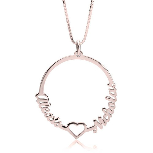 Personalized Two Names Circle And Heart Necklace - Rose Gold Plated