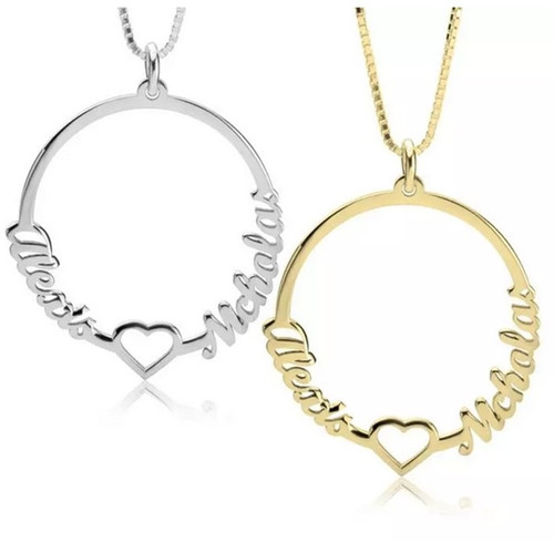 Personalized Two Names Circle And Heart Necklace - Sterling Silver, 24K Gold Plated