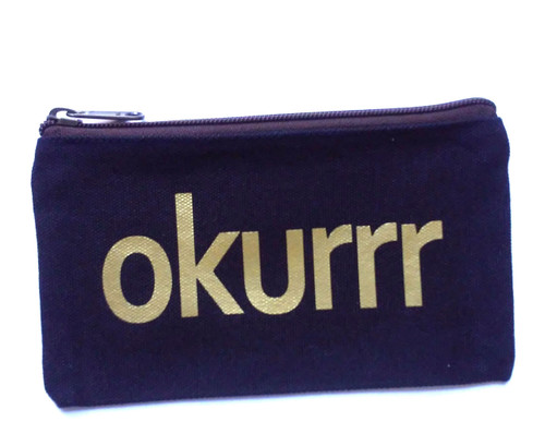 Okurrr Navy Canvas Makeup Bag