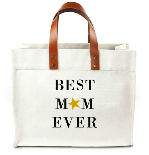 Best Mom Ever Canvas Tote Bag With Leather Straps