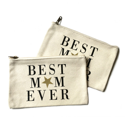 Best mom Ever Canvas Makeup Bag - Large