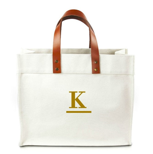Fulham Single Center Initial Canvas Tote Bag w/ Leather Straps