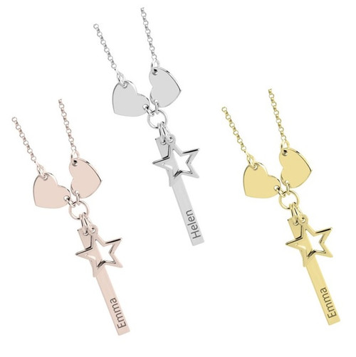Personalized Vertical Bar Necklace With Hearts & Star Charms- Rose Gold, Silver, Gold Plated Silver