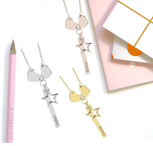 Personalized Vertical Bar Necklace With Hearts & Star Charms