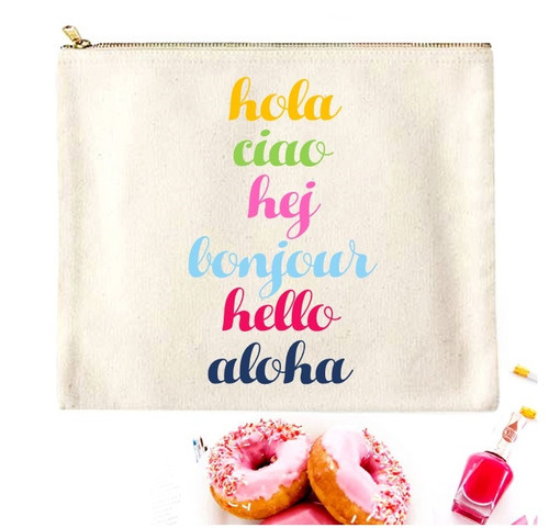 Hello Canvas Pouch & Make Up Bag