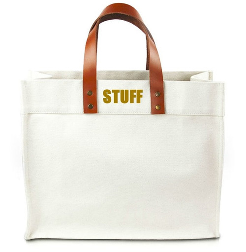 Stuff Canvas Tote Bag with Leather Straps - Gold