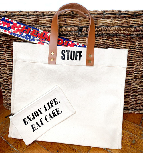 Stuff Canvas Tote Bag with Leather Straps - Black