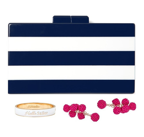 Audrey Acrylic Clutch with Removable Strap - Navy