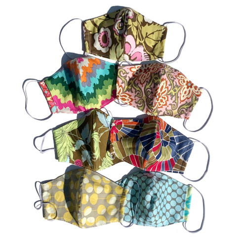 Bundle of 2 Or More Reversible Washable Reusable Cotton Face Masks - With Pocket For Filter