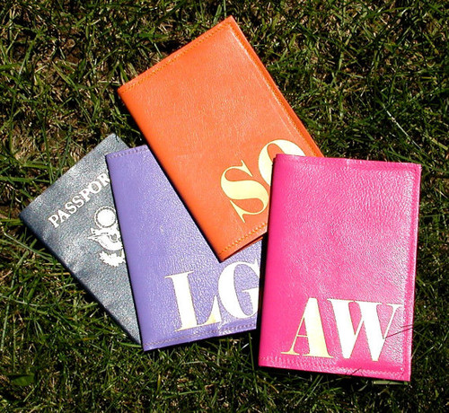 Mia Initial Personalized Passport Cover - Purple, Orange, Warm Pink