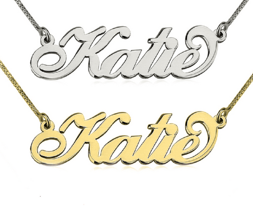 14K Gold or White Gold Personalized Name Carrie Necklace