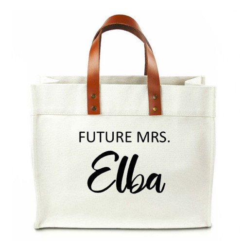 Future Mrs Personalized Canvas Tote Bag With Leather Straps