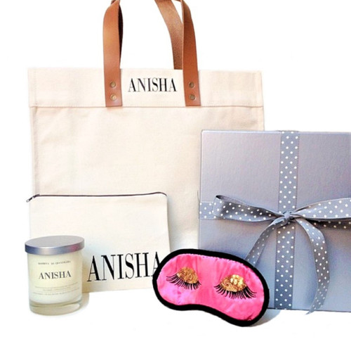 Cara Personalized Gift Box | Tote Pouch Candle Eye Mask Gift Set