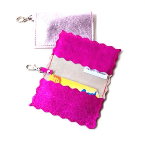 Metallic Leather Card Holder & Key  Chain - Scalloped or Straight Edge Finish