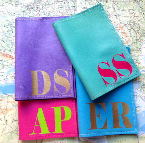 Personalized Initial Passport Cover - Leather - Assorted
