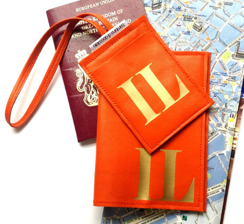 Personalized Initial Leather Passport Cover & Personalized Initial Luggage Tag Set - Orange