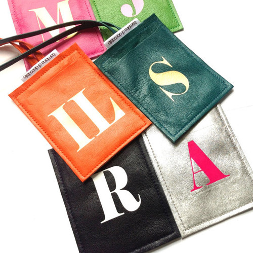 Personalized Initial Leather Luggage Tag - Assorted