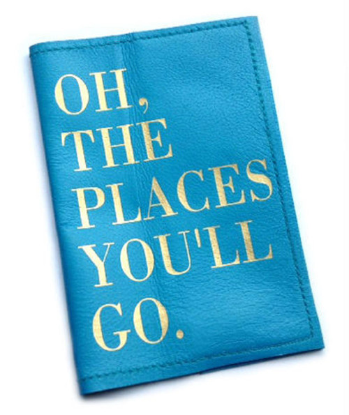 Leather Passport Holder -Dr Seuss Inspired, Oh The Places You'll Go