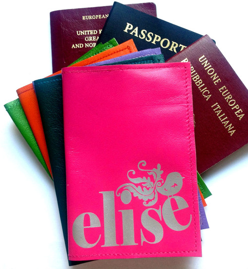 Mia Name Personalized Leather Passport Cover, Mia Customized Passport Cover with Name and Bird