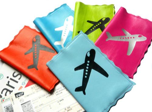 Mia Vintage Plane Leather Passport Cover, Mia Retro Passport Cover