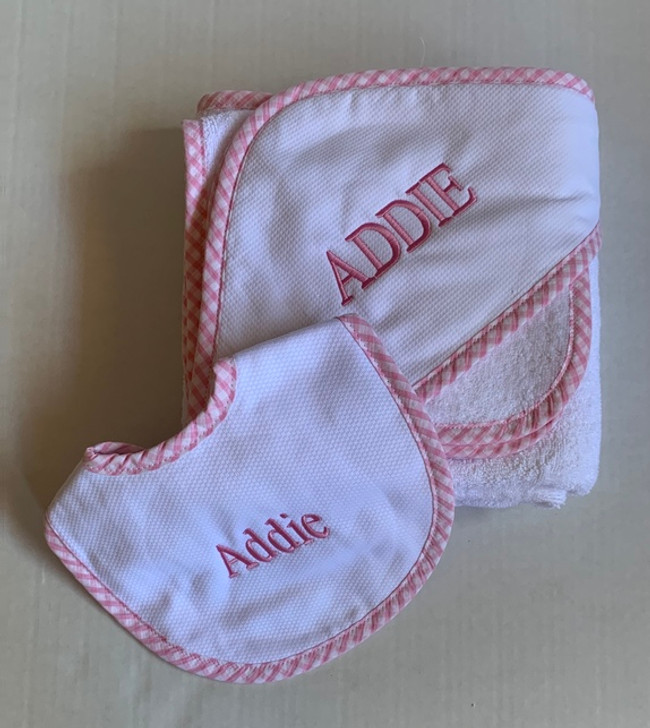Personalized Baby Gift Sets - 3Marthas Pique Towel & Bib