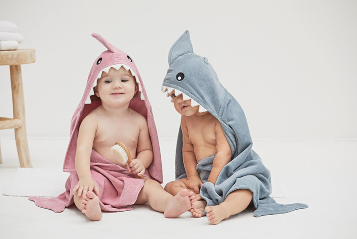 Personalized Elegant Baby  Hooded towels   Shark Towels for twins