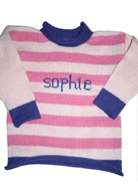 Custom Hand Knitted Cotton Baby Sweater - Striped
