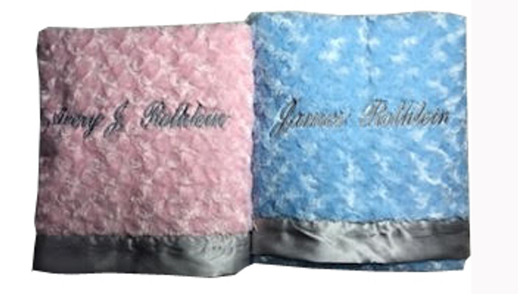Gray and pink twin blankets