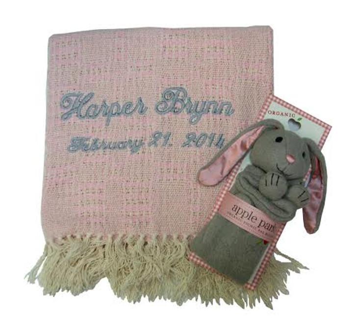 Pink bunny and cotton towel set