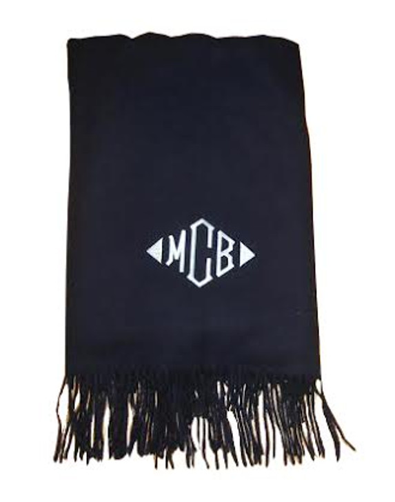 Cashmere wool monogrammed throw