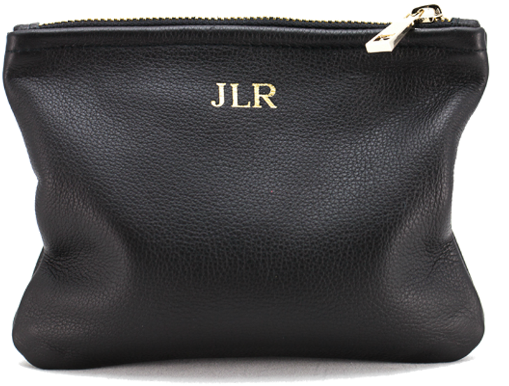 Black Leather Monogrammed Pouch
