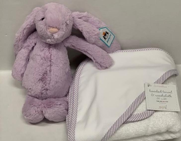 Personalized Lavender Baby Bundle - Towel & Jellycat