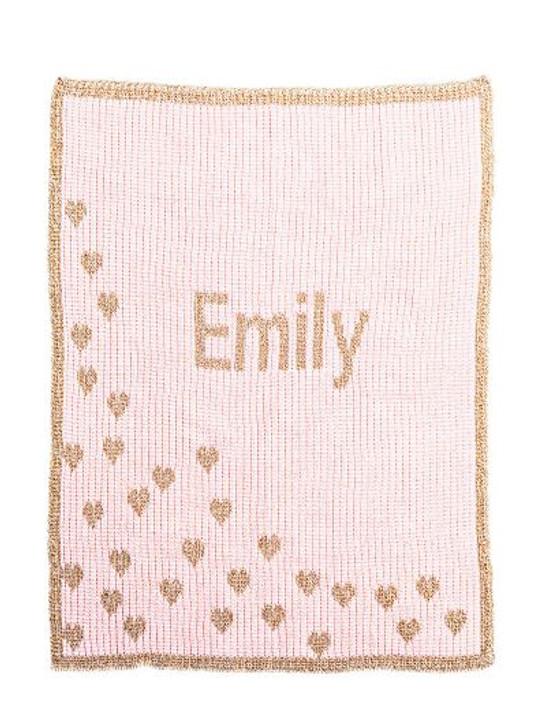 Custom Crib Blanket - Butterscotch Blankee Metallic Sprinkled Hearts