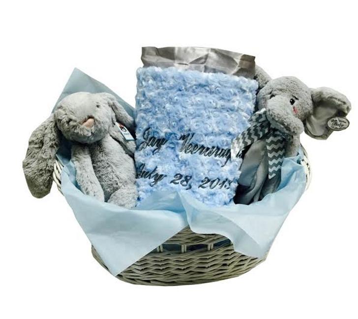Baby Boy Gift Basket in Gray & Blue