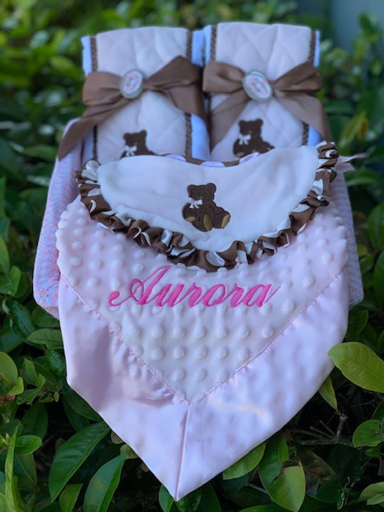 Personalized Gift Basket of Blanket, Bib and Burps