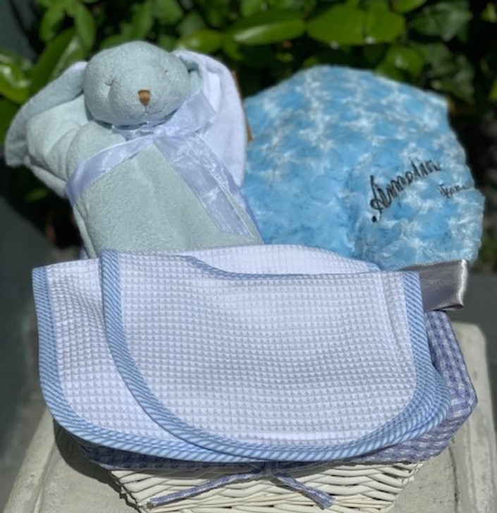 The Essentials for Baby Boy- Plush Blanket, Bunny  Napping Blanket. Matching Set of Bib & Burp Cloths
