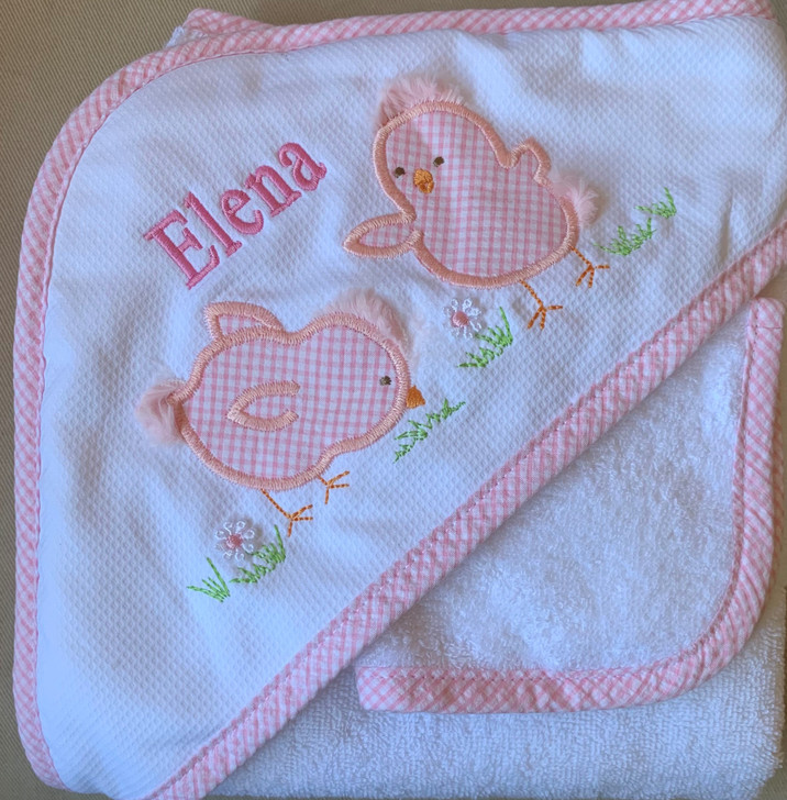 3Marthas Pink Chick Towel with Name