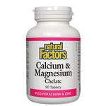 Natural Factors Calcium & Magnesium Chelate Plus Potassium and Zinc Tablets 90 tablets | 068958016238