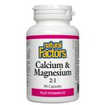 Natural Factors Calcium and Magnesium 2:1 Plus Vitamin D3 Capsules | 068958016252